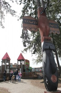 Dream Playground and totem pole in Port Angeles Washington