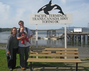 At the Trans-Canada Highway with kids at Tofino BC