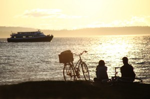 ferry boat and bikes in bellingham