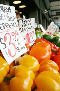 shopping for peppers at farmers markets with kids