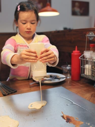 Making breakfast at the kid-friendly Portland restaurant Slappy Cakes