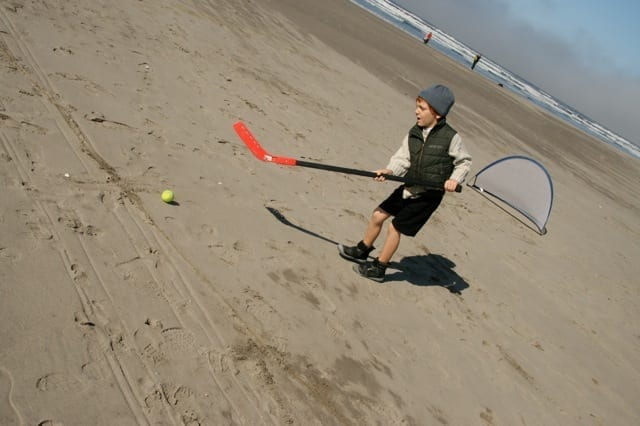 Playing hockey on the Oregon Coast