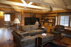 The cozy library at Sleeping Lady Resort.