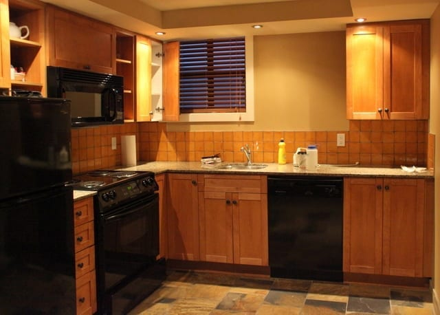 Kitchen at the kid-friendly Sundial Suites in Whistler