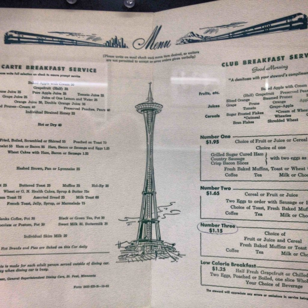 Vintage Amtrak Dining Car Menu