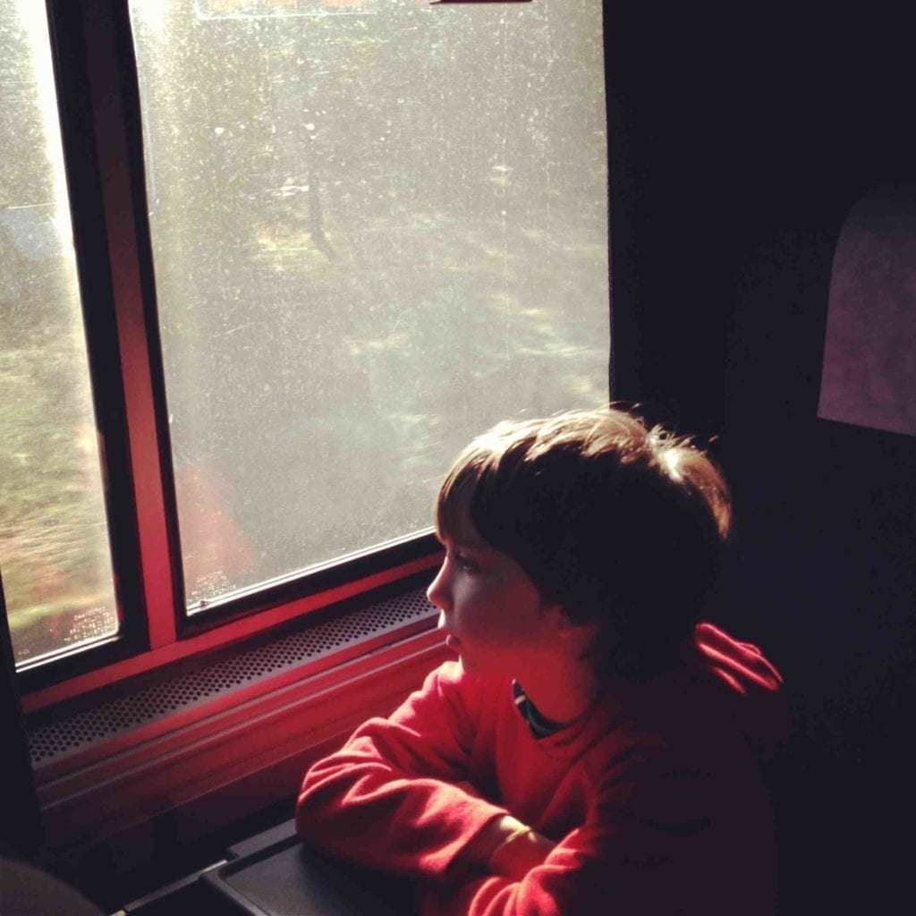 Kid on Amtrak Train